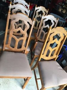 6 Old Vintage Wooden Chairs/2 Captains
