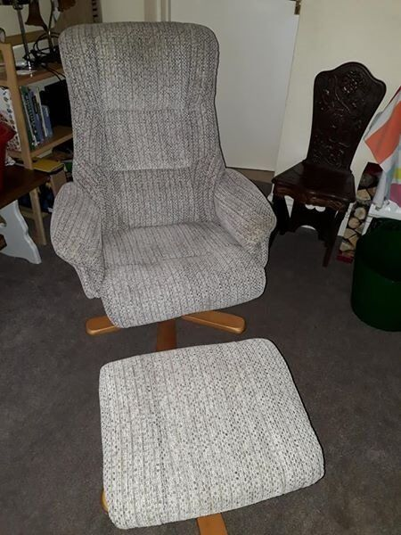 Material Swizzle Recliner Chair And Foot Stool In