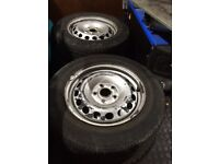 Mk5 golf steels 5x112 to nearly new tyres !