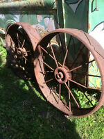 Antique Iron Farm Implement Wheels Pair 38""