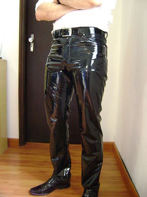 Men & Boys 100% Genuine Lambskin Patent Leather Pant with Straiht Jeans style