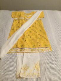 Stylish Summer Outfit- Cotton Shalwaar Kameez - Yellow& White Embellished Top/ Kurta