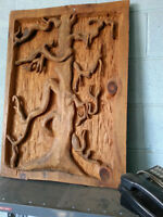 "Large Wood Carving TREE White Pine 22""x28""x2"" handcarved"