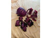 Roller skates size UK 2 (EU 34), plus safety gear