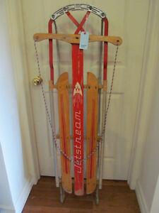 Vintage wood Jetstream Sleigh tobogan sled #555