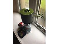 Coleman camping stove + gas + ultralight pan