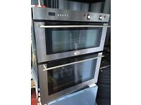 Belling chrome silver double electric oven under counter