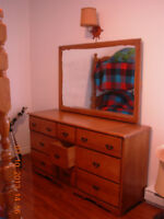 "Solid Maple Roxton57.5""dresser w adjustablemirror smoke/stainfr"