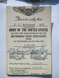 Antique WW2 American Pilot Badge Wings and Documents U.S. USA Strathcona County Edmonton Area image 5