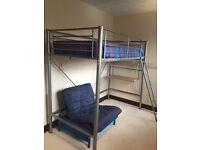 Metal high sleeper and futon