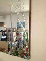 beveled mirror three piece 60 inches by 30 inches