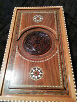 Antique Rare Carved Backgammon Made From Rosebush