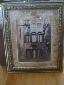 "ELEGANT VINTAGE PRINT ""CITY LIVING"" in GORGEOUS GILT WOOD FRAME"