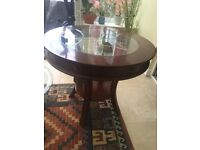 """Circular Coffee Table with glass inset, 28"""" diameter x 24"""" height"""