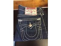True Religion Brand Jeans. Brand new. Ricky Super-T. Dark Blue. Straight Leg. Waist 34