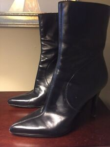 Nine West black leather women's boots. (Two pairs)