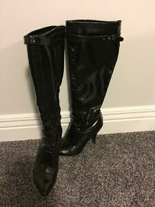 Black Nine West patent leather boots
