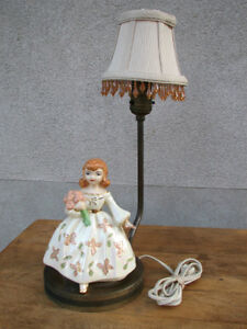Vintage 1950's Figural Lamp with Pierced Brass Base