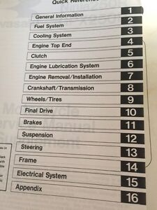 1988-1997 Kawasaki Ninja GPZ 250 Service Manual Supplement Regina Regina Area image 2