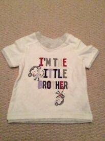"""Cute soft """"I'm the little brother"""" T shirt new 3-6 months"""