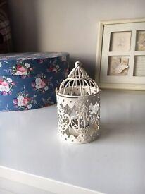 Cream birdcage tealight holder x8