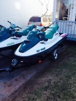 2 1996 seadoo gtx and Double trailer