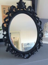 Black ornate gothic dressing table stand up mirror good condition