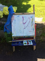 Kids Easel, Paints and Plastic Drawers