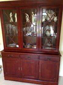 Antique Solid Mahogany Display Cabinet