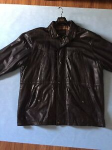 Men's 2/3 leather trench style coat
