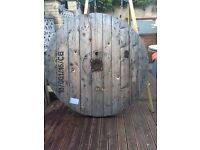 Wooden cable drum ideal for garden table