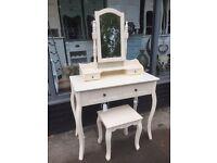 Cream Shabby Chic Dressing Table, Mirror & Stool