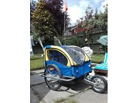 Two seater kids or pets bike trailer stroller jogger 2 in 1