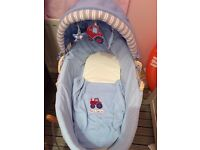 Boys busy tractor Moses Basket Blanket Stand and Nappy Holder