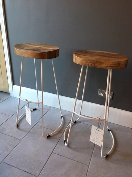 2 Handcrafted Bar Stools By Swoon White Metal Solid Mango Wood