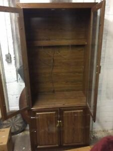 Dark brown, solid wood China cabinet/glass doors, shelves,displa