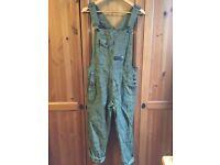 Zara Trafaluc Denimwear military green camouflage trend hunter Dungarees jeans trousers