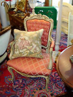 SET SETTEE & ARMCHAIR, FRENCH ANTIQUE