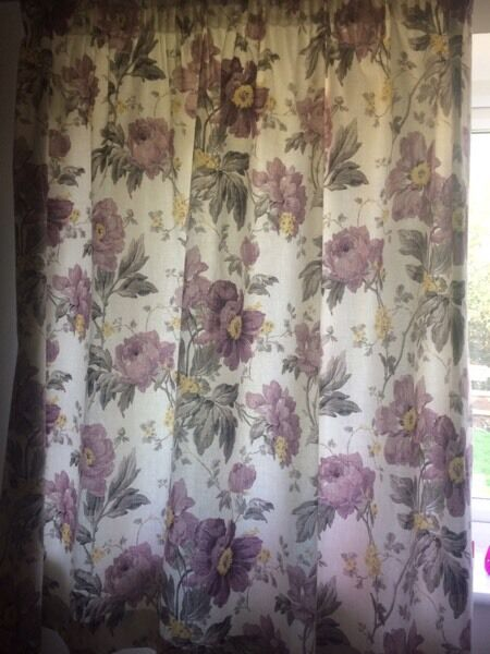 Laura Ashley Peony Garden Amethyst Curtains In Mitcheldean - Laura ashley curtains purple