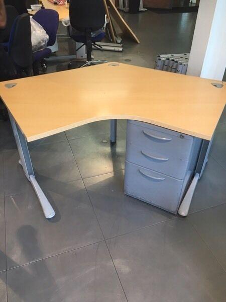 Only 8 left beech diagonal desks on super sale @ just £15 each