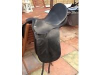 """COUNTRY COMPETITORS ALL LEATHER 18"""" NARROW FIT HORSE SADDLE BEAUTIFUL COND CB5 £60"""