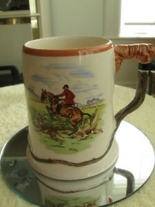 SPORTY OLD VINTAGE PORCELAIN / CHINA HUNT SCENE TANKARD
