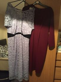 Blue maternity dress and burgundy maternity dress
