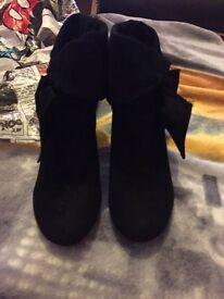 Size 3 black ankle boots with folded over top