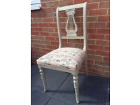 Shabby chic cream painted vintage paper print chair