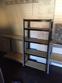 Black metal garage shelving unit