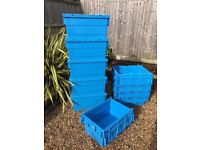 Heavy Duty Storage Boxes/Crates with Attached Lids