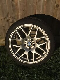 """BMW fit 4 x 18"""" alloy wheels and winter tyres in excellent condition"""