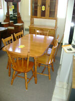 Maple table and six chairs. $399.