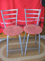 Two Metal Swivel bar chairs with fabric seats